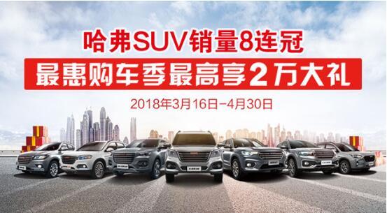 哈弗SUV销量八连冠 最惠购车季最高享2万大礼