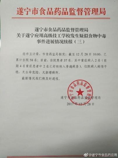 四川一学校发生疑似食物中毒事件已出院58人