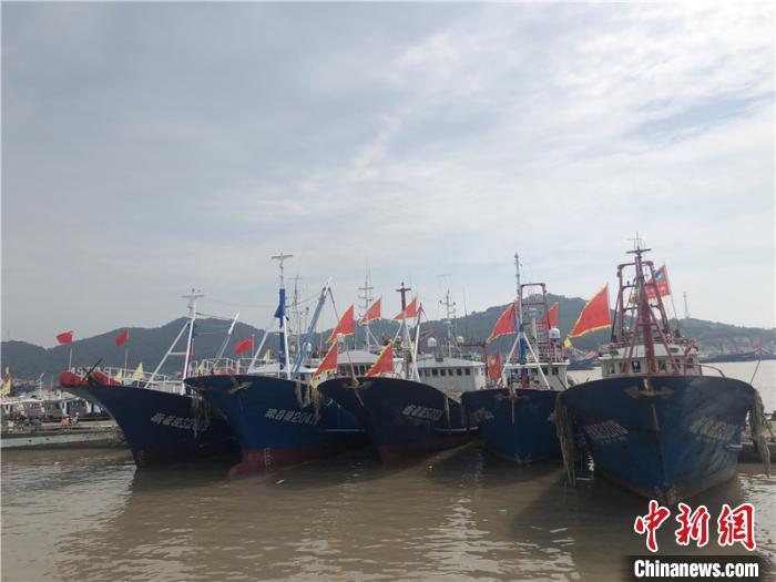 石浦港内停泊渔船。 林波 摄