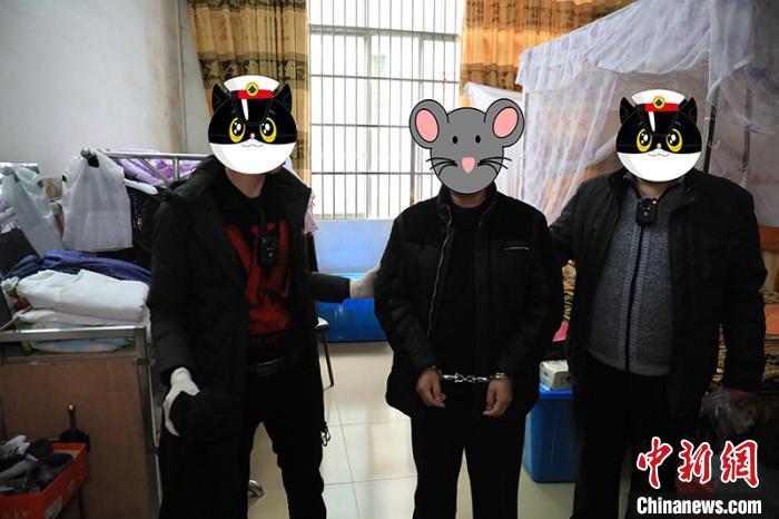 图为犯罪嫌疑人王某腾被抓捕归案。 百色边境管理支队供图 摄
