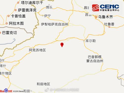 新疆阿克苏库车县发生3.2级地震震源深度6千米